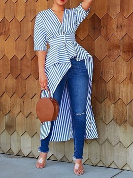Ericdress V-Neck Falbala Stripe Half Sleeve Long Blouse