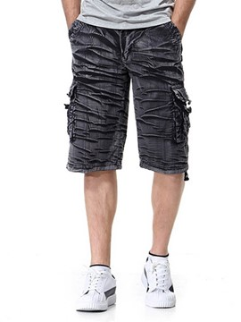 Ericdress Loose Plain Casual Mens Button Shorts