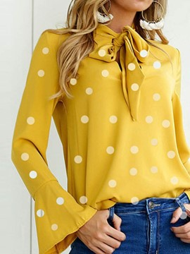 Ericdress Polka Dots Lace-Up Round Neck Long Sleeve Blouse