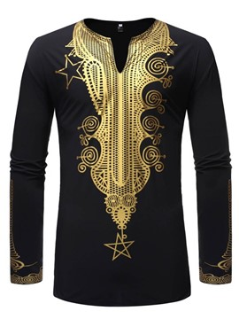 Ericdress African Fashion Dashiki V-Neck Mens Print Slim Shirt