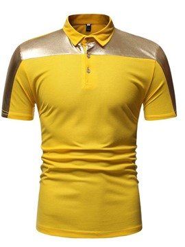Ericdress Button Mens Color Block Polo Shirt