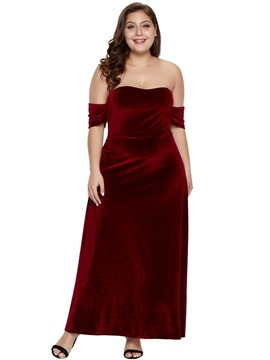Ericdress Plus Size Off Shoulder Ankle-Length Plain A-Line Dress