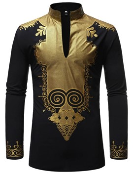 Ericdress African Fashion Dashiki Casual Print Mens Shirt