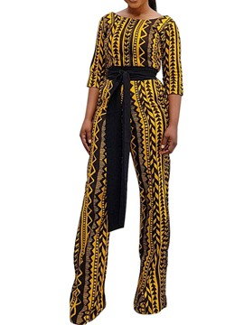 Ericdress Geometric Print Belt Slim Collect Waist Jumpsuit