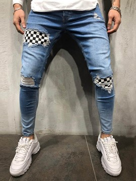 Ericdress Color Block Thin Mens Zipper Jeans