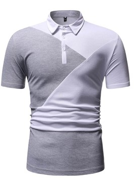 Ericdress Color Block Casual Mens Button Polo Shirt