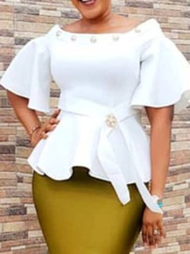 Ericdress Flare Sleeve Off Shoulder African Fashion Blouse