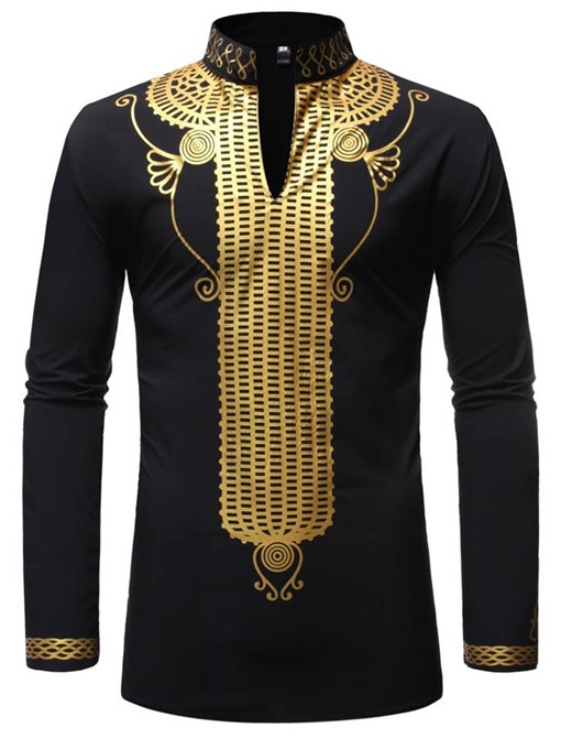 Ericdress African Fashion Stand Collar Print Casual Slim Mens Shirt