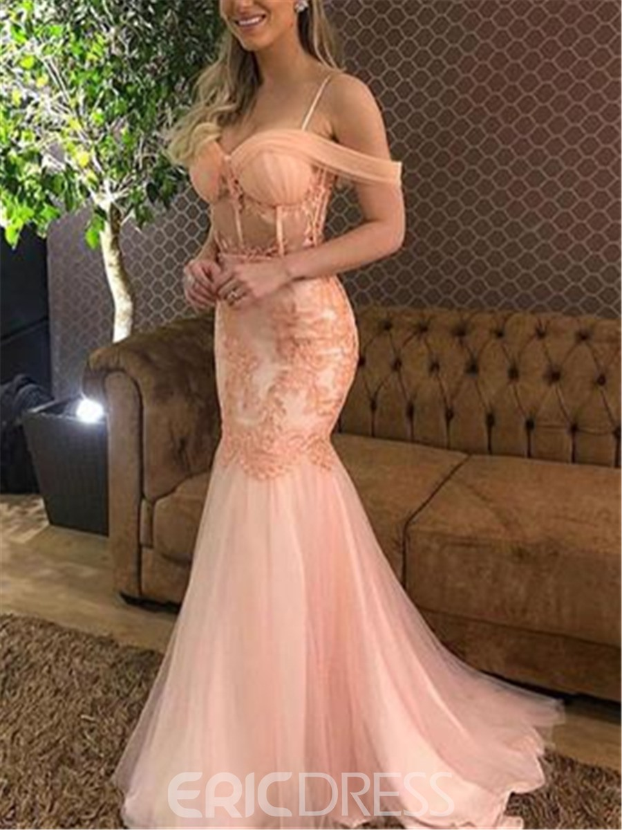 Ericdress Appliques Spaghetti Straps Mermaid Evening Dress 2019