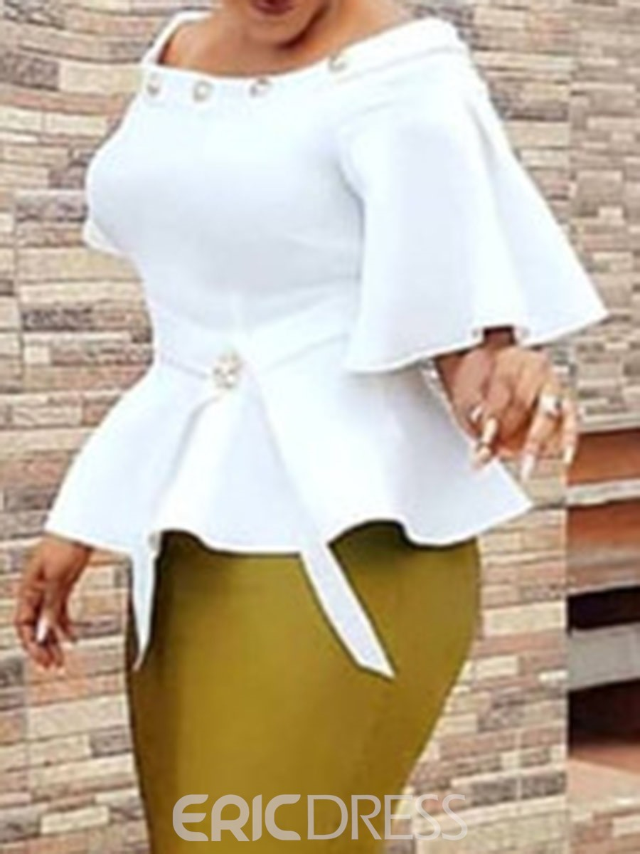 Ericdress African Fashion Flare Sleeve Off Shoulder Blouse