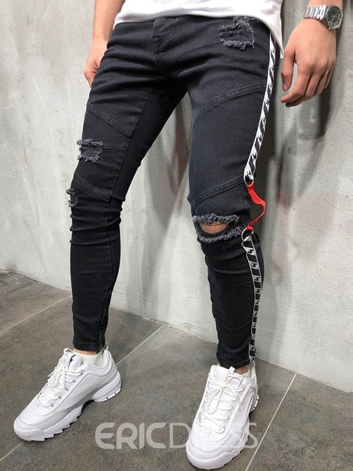 Ericdress Color Block Thin Mens Casual Zipper Jeans