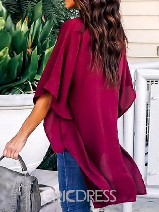 Ericdress Asymmetric V-Neck Plain Half Sleeve Blouse