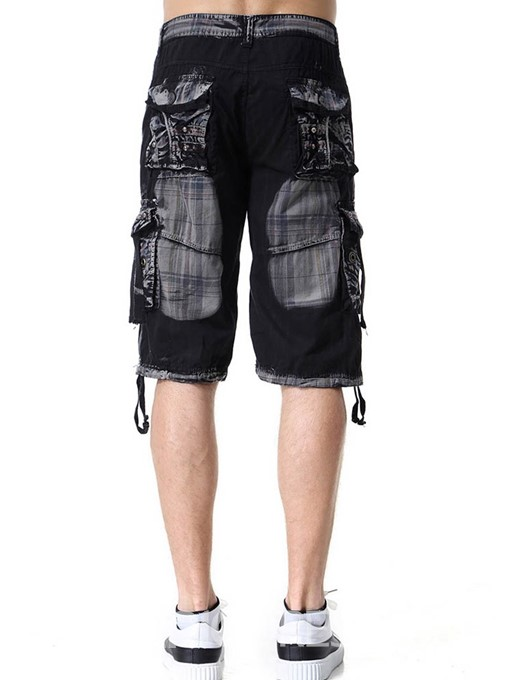 Ericdress Pleated Color Block Loose Button Mens Casual Shorts