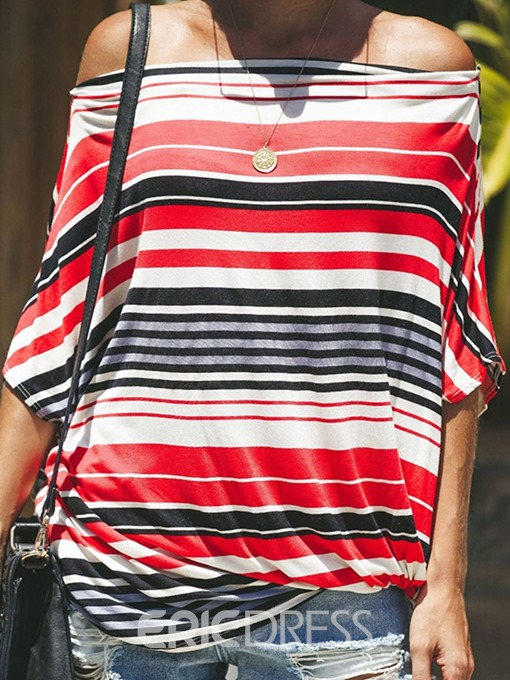 Ericdress Stripe Off Shoulder Summer Fashion T-Shirt