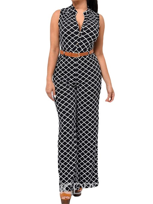 Ericdress Button Office Lady Full Length Loose Jumpsuit
