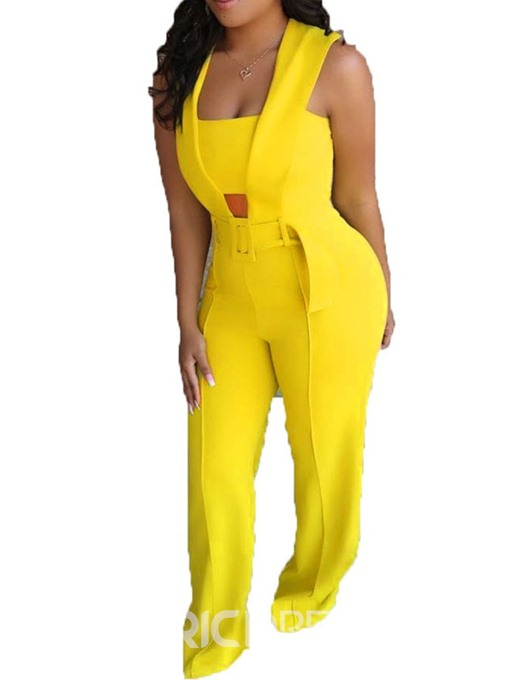 Ericdress Plain Straight Full Length Slim Jumpsuit