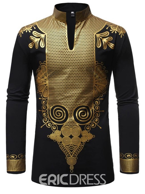 Ericdress African Fashion Dashiki Stand Collar Print Mens Shirt