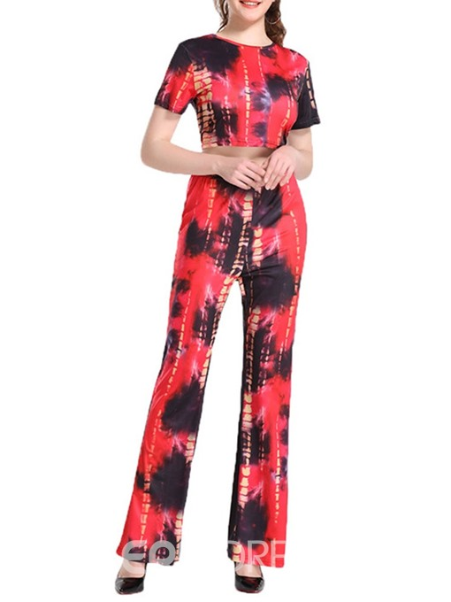 Ericdress Print Bellbottoms Skinny Office Lady T-Shirt And Pants Two Piece Sets
