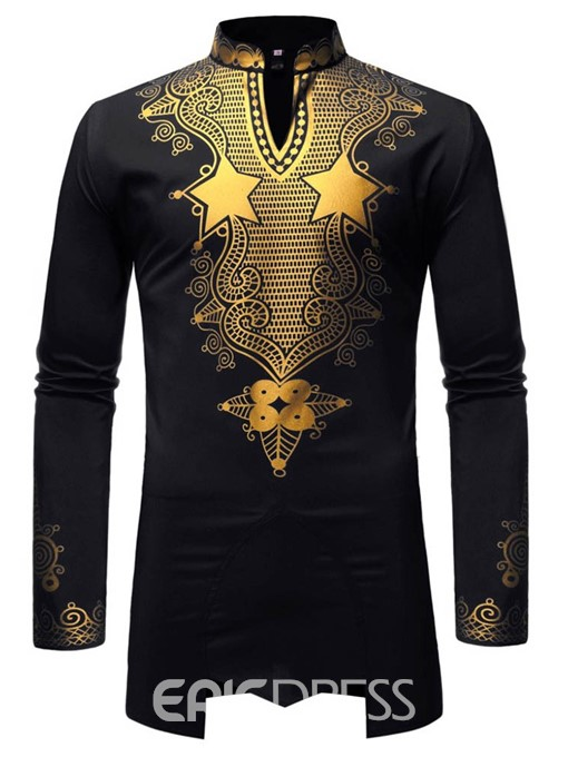Ericdress African Fashion Dashiki Print Casual Mens Slim Shirt