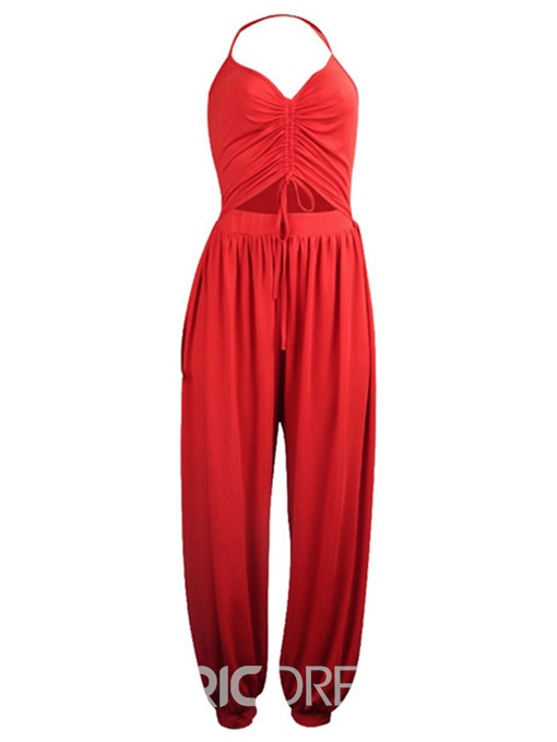 Ericdress Lace-Up Split Plain Knickerbockers Loose Jumpsuit