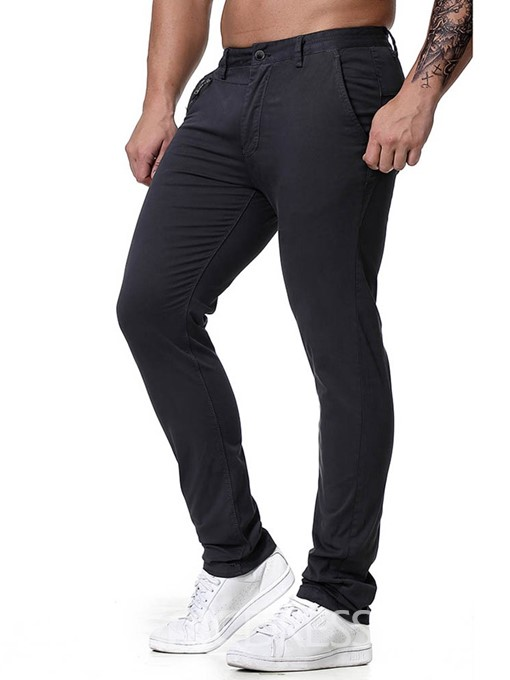 Ericdress Plain Button Four Seasons Zipper Mens Casual Pants