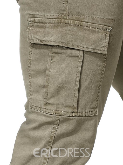Ericdress Overall Plain Button Four Seasons Mens Casual Pants
