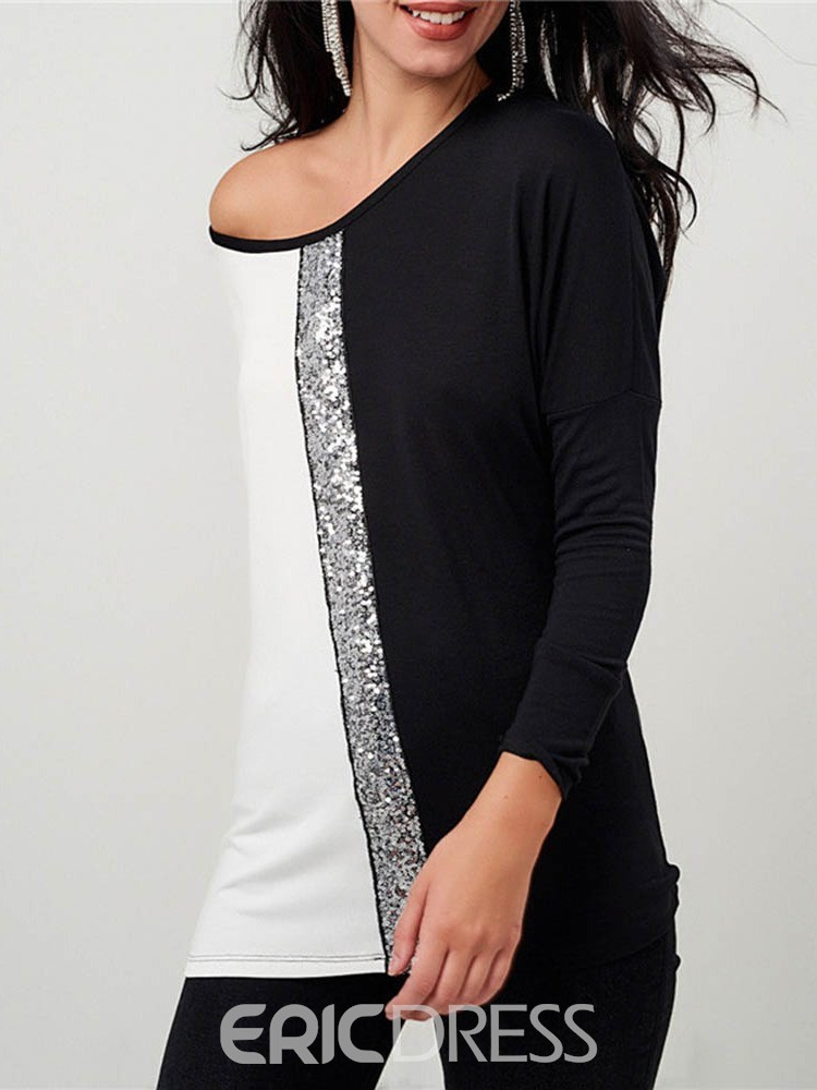 Ericdress Color Block Round Neck Sequins Casual T-Shirt