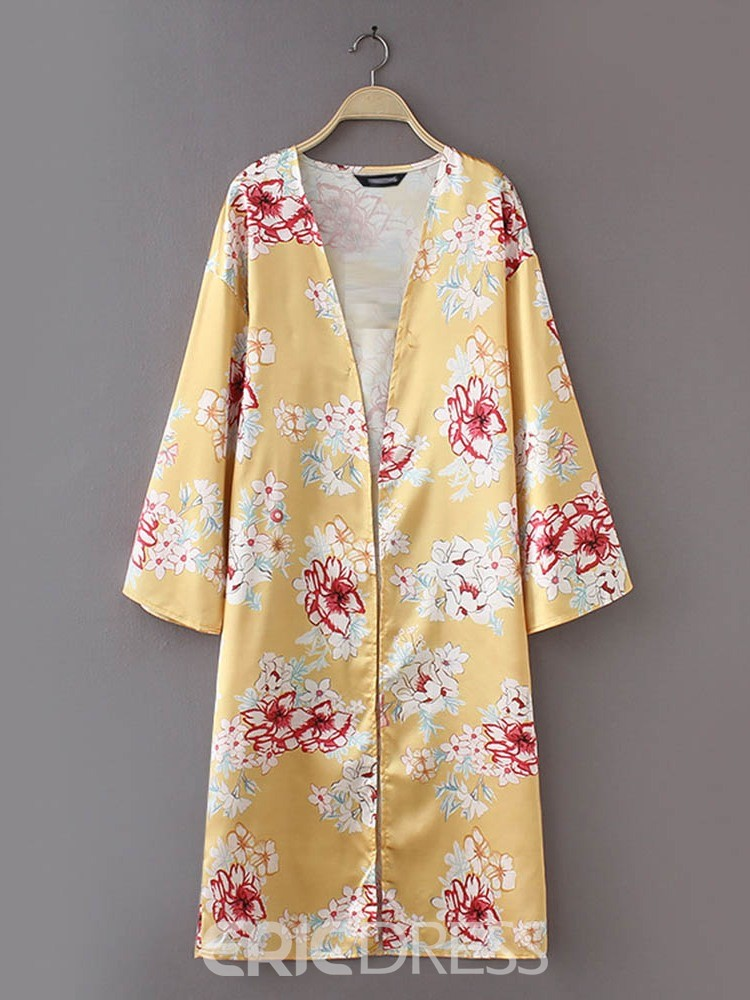 Ericdress Wrapped Print Travel Look Casual Trench Coat