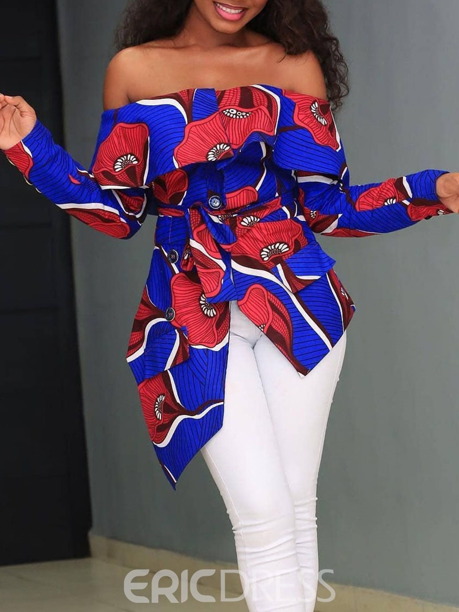 Ericdress African Fashion Print Off Shoulder Blouse