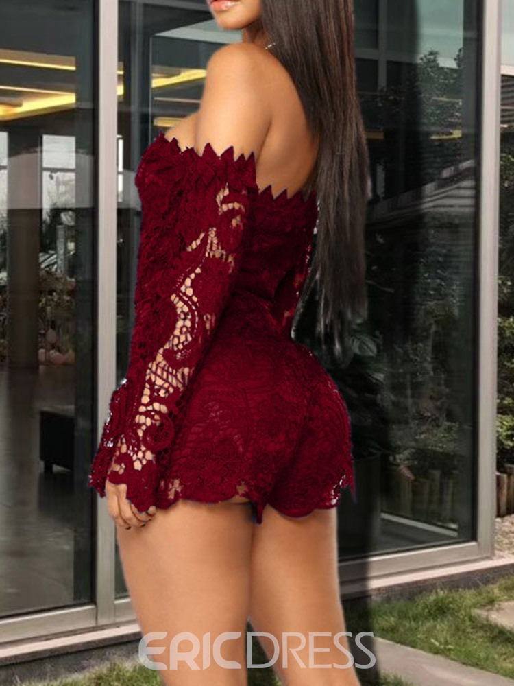 Ericdress Sexy Lace Plain Skinny Jumpsuit