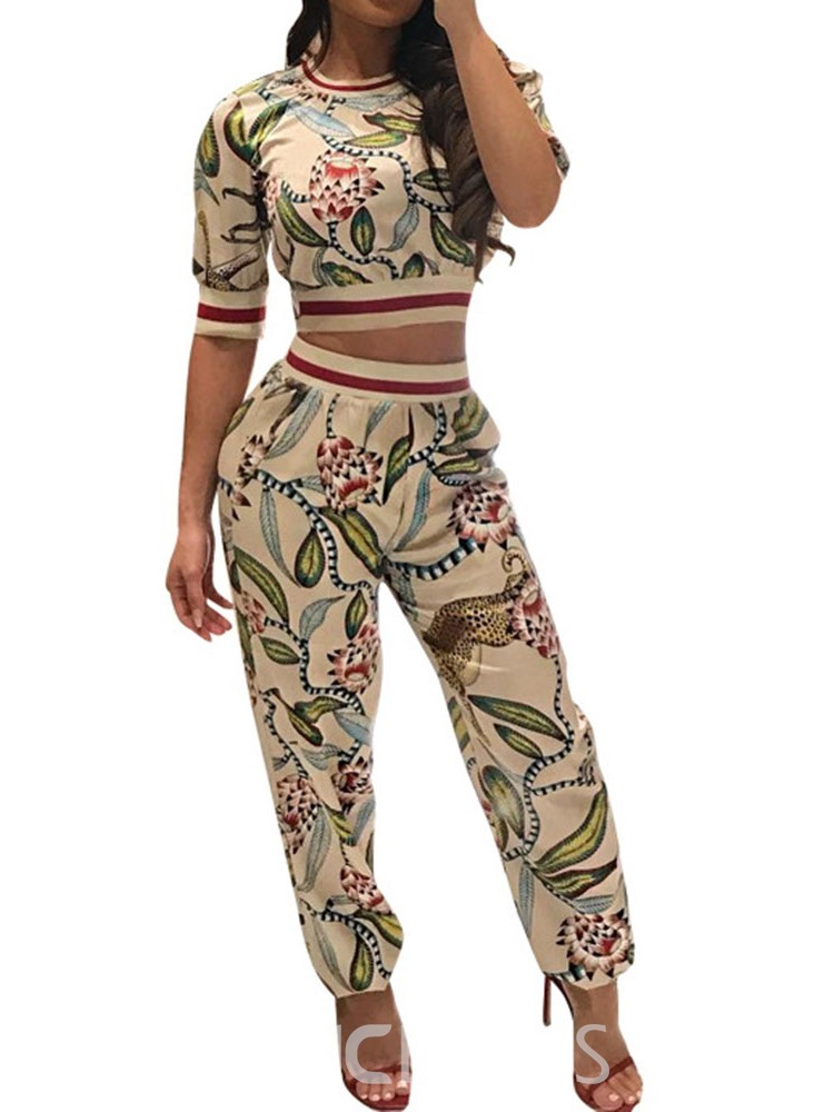 Ericdress Print Floral Slim African Fashion T-Shirt And Ankle Length Pants Two Piece Sets