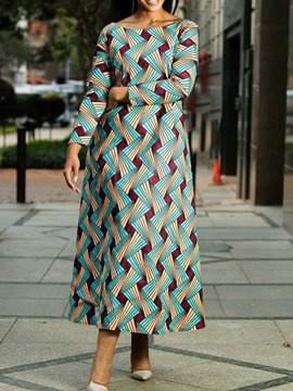 Ericdress African Style Off Shoulder Floor-Length Geometric A-Line Dress