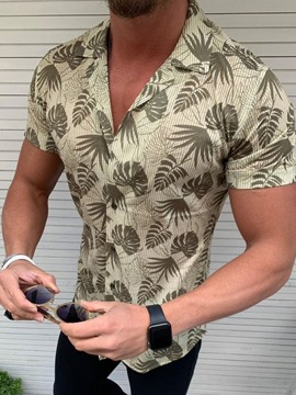 Ericdress Casual Floral Lapel Slim Mens Single-Breasted Shirt