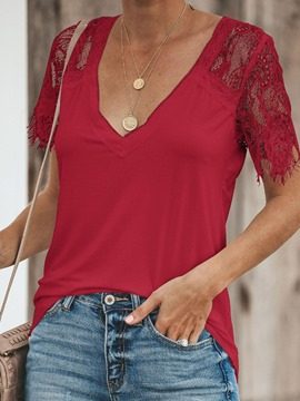 Ericdress Patchwork Lace Short Sleeve Casual T-Shirt