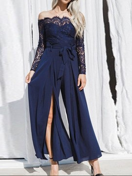 Ericdress Lace Patchwork Split Plain Slim Jumpsuit