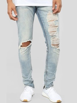 Ericdress Thin Hole Mens Casual Zipper Jeans