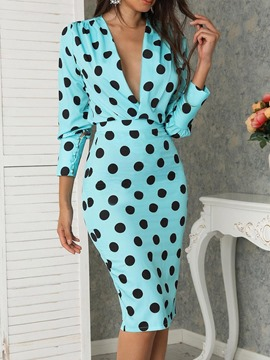 Ericdress Print Three-Quarter Sleeve Office Lady Polka Dots Standard-Waist Dress