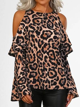 Ericdress Round Neck Leopard Flare Sleeve Long Sleeve Blouse