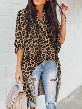 Ericdress V-Neck Leopard Asymmetric Mid-Length Blouse