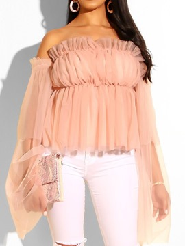 Ericdress Mesh Off Shoulder Flare Sleeve Blouse
