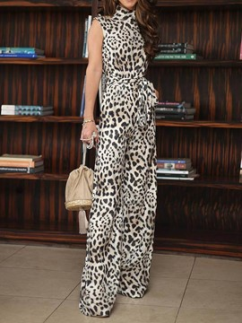 Ericdress Leopard Bowknot Belt Loose Jumpsuit