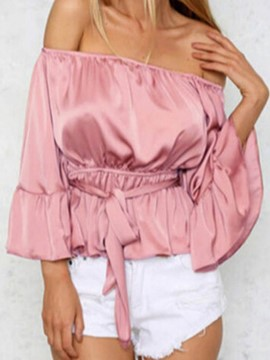 Ericdress Plain Off Shoulder Patchwork Lace-Up Blouse