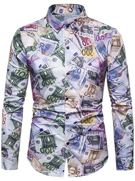 Ericdress Casual Print Lapel Mens Single-Breasted Shirt