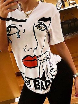 Ericdress Round Neck Character Print Short Sleeve T-Shirt