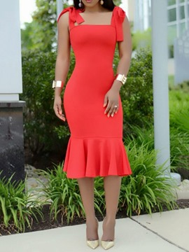 Ericdress Lace-Up Mermaid Square Neck Sexy Plain Party Dress
