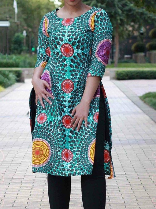 Ericdress African Fashion Mid-Length Geometric Split T-Shirt