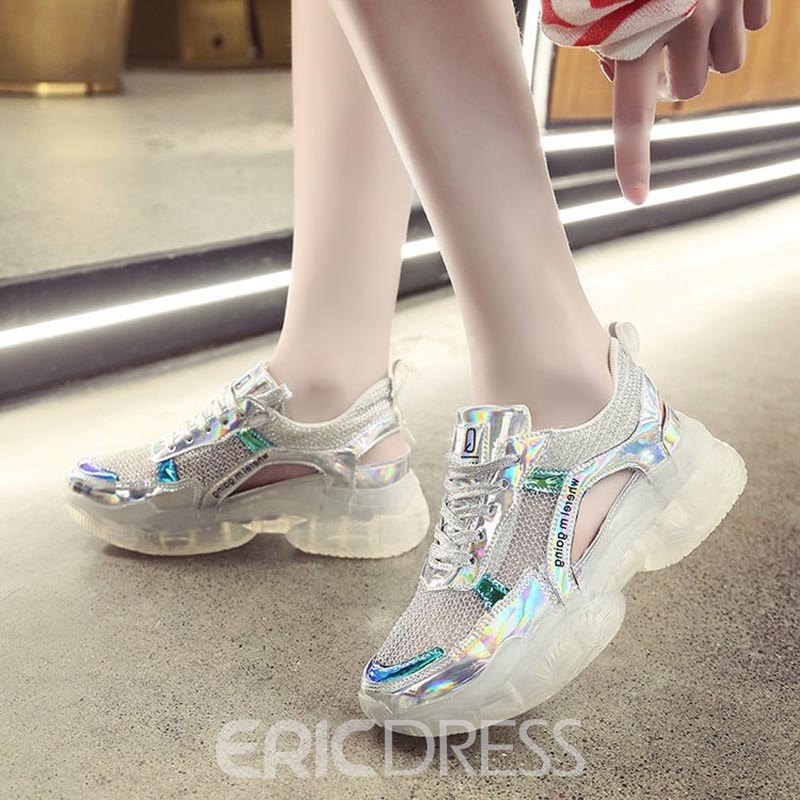 Ericdress Mesh Round Toe Lace-Up Women's Sneakers