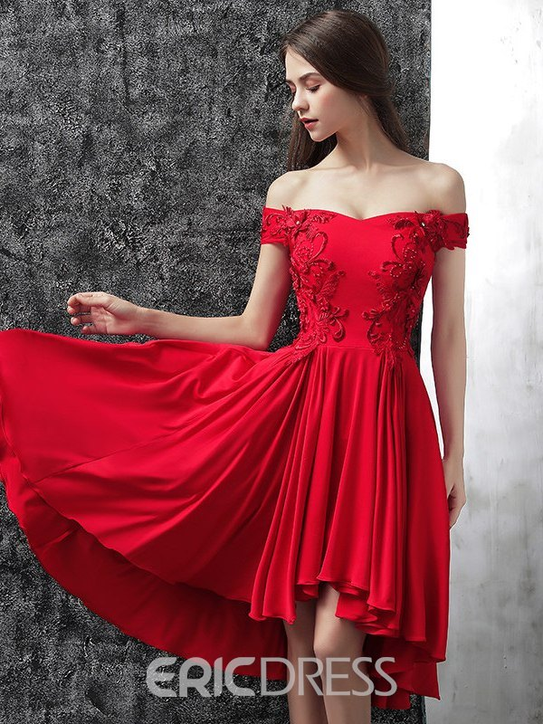 Ericdress Off-The-Shoulder Appliques Beading Red Homecoming Dress