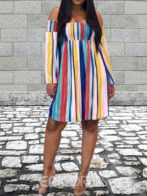 Ericdress Pleated Striped Long Sleeve Off Shoulder A-Line Dress