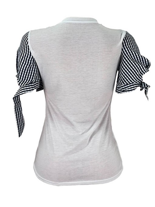 Ericdress Stripe Round Neck Patchwork Short Sleeve T-Shirt